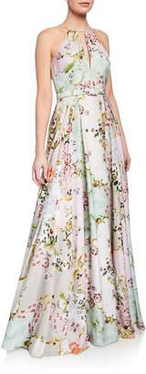 Badgley Mischka Alice Floral-Print Keyhole Halter Gown
