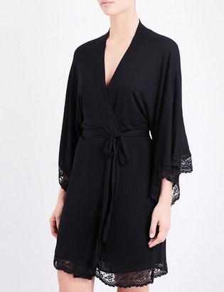 Eberjey Colette lace-trim jersey robe $116 thestylecure.com