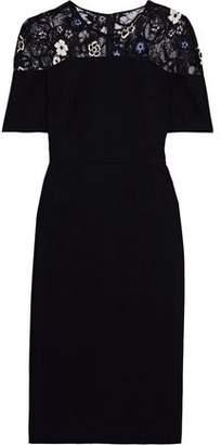Lela Rose Appliqued Chantilly Lace-paneled Crepe Dress