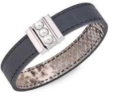 Majorica Amazona 5MM Mabe Pearl Leather Magnetic Bracelet