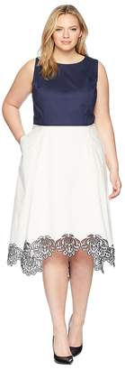 Tahari ASL Plus Size Embroidered Hem Midi Dress Women's Dress