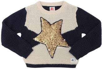 Star Sequined Rib Knit Sweater