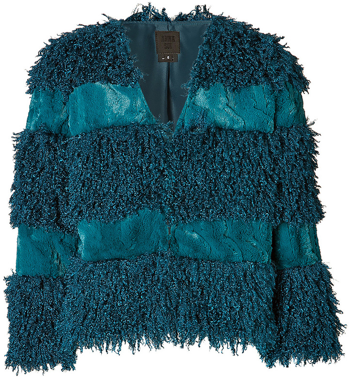 Anna Sui Faux Fur Jacket in Teal