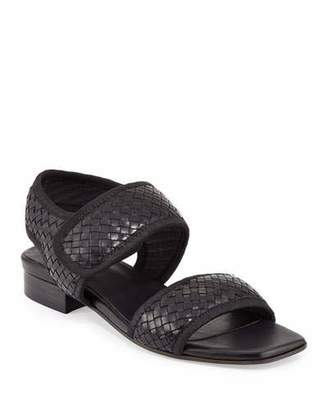 Sesto Meucci Gryta Woven Leather Flat Sandal, Black
