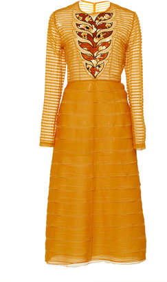 Bottega Veneta Tiered Silk Midi Dress