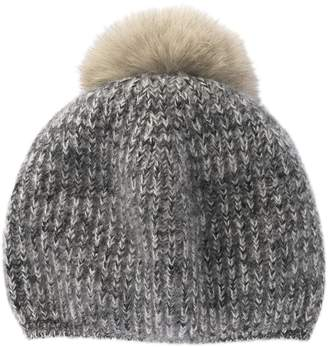 Portolano Genuine Dyed Fox Fur Pompom Rib Stitched Beanie