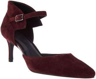 Halston H By H by Suede Heels with Adjustable Ankle Strap - Laurie