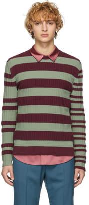 Marni Burgundy and Green Striped Sweater