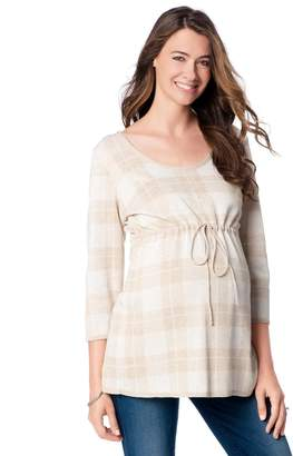 Motherhood Maternity Plaid Babydoll Tunic Maternity Sweater