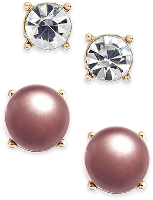 Charter Club Gold-Tone 2-Pc. Set Crystal & Colored Imitation Pearl Stud Earrings