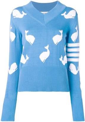 Thom Browne 4-Bar Whale Icon Intarsia Pullover
