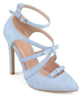 Brinley Co. Women's Faux Suede Pointed Toe Bow Multi-strap Heels
