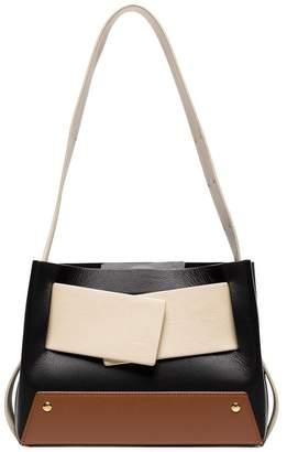 Yuzefi black, cream and brown biggy colour-block leather tote bag