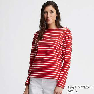 Uniqlo Women's Striped Boat Neck Long-sleeve T-Shirt