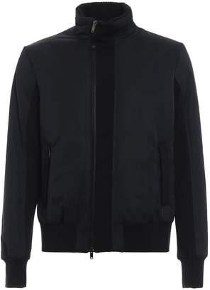 Dondup Padded Nylon Bomber Jacket With Wool Inserts