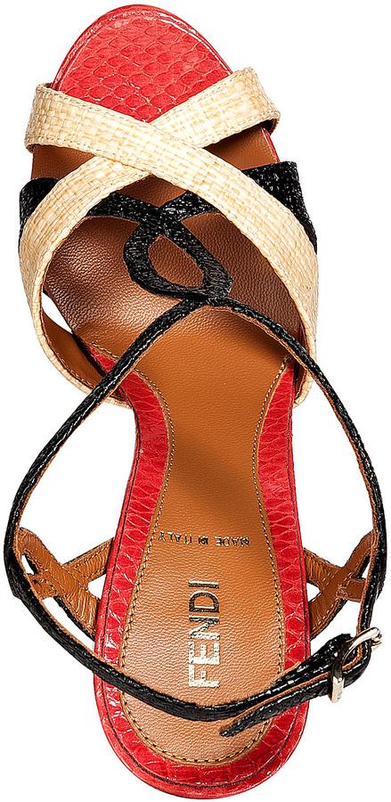 Fendi Sand/Black/Scarlet Raffia/Embossed Leather Platform Sandals