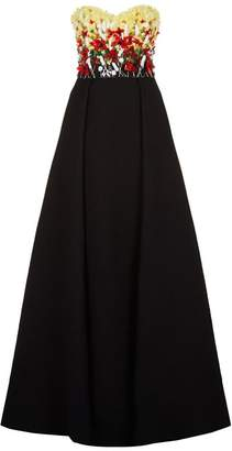 Badgley Mischka Strapless Floral Embellished Gown
