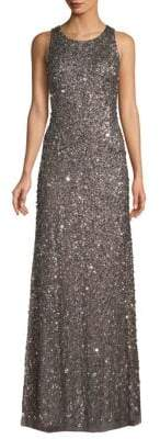 Adrianna Papell Sequined Crunchy Halter Dress