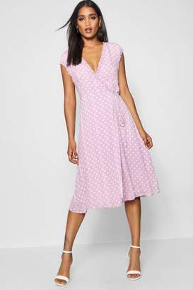 boohoo Polka Dot and Ruffle Wrap Midi Dress
