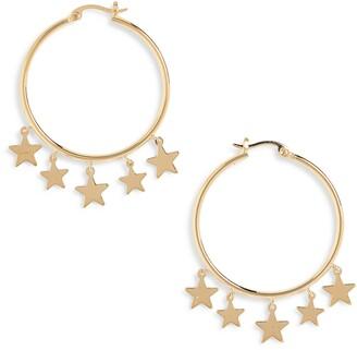 Sterling Forever Star Dangle Hoop Earrings