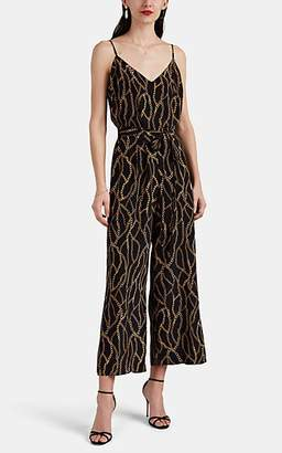 L'Agence Women's Jaelyn Chain-Print Silk Jumpsuit - Black