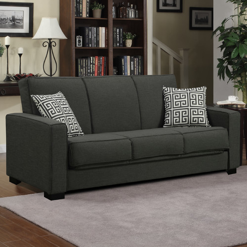 Mercury Row Athena Convertible Sleeper Sofa Upholstery Color / Pillow: Basil Green / Greek Key
