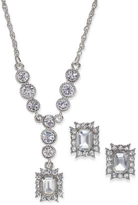 Charter Club Silver-Tone Crystal Pendant Necklace & Matching Stud Earrings Set