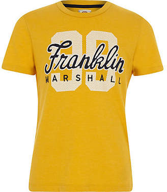 River Island Boys Franklin and Marshall yellow '99' T-shirt