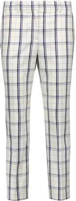 Theory Treeca cropped checked wool-blend straight-leg pants $285 thestylecure.com