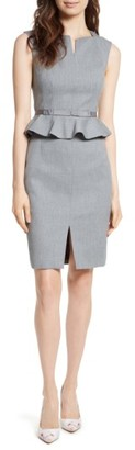 Women's Ted Baker London Nadaed Bow Detail Textured Peplum Dress $315 thestylecure.com