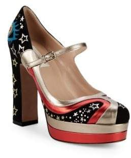 Valentino Metallic Star Print Platform Pumps