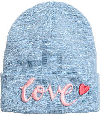 H&M Fine-knit hat with a motif - Blue