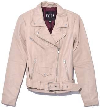 Veda Jayne Smooth Leather Jacket in Beige