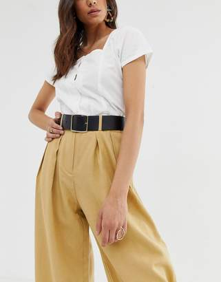 Asos Design DESIGN leather wide waist and hip belt with gold buckle