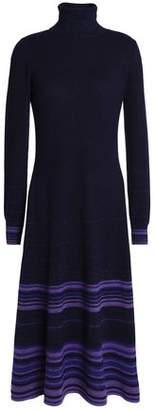 Agnona Striped Cashmere-blend Turtleneck Midi Dress
