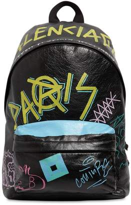 Balenciaga Grafitti Printed Leather Backpack