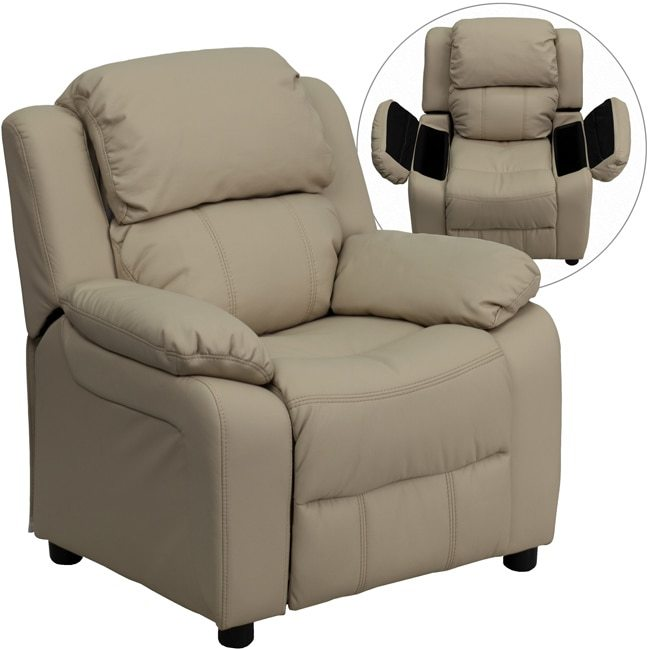 Flash Furniture Deluxe Heavily Padded Contemporary Beige Vinyl Kids Recliner with Storage Arms