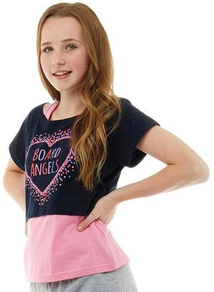 Board Angels Girls Short Sleeve Top With Heart Print Navy/Pink