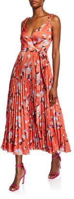 Self-Portrait Sleeveless Botanical-Print Pleated Wrap Dress