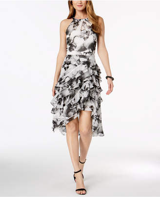 MSK Floral-Print Ruffle Dress