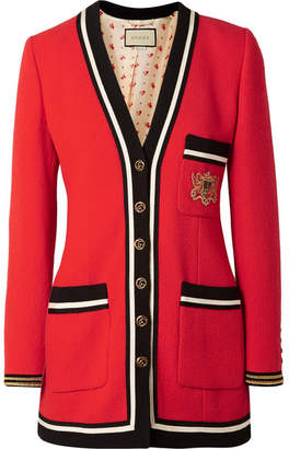 Gucci Appliquéd Grosgrain-trimmed Wool-crepe Jacket - Red