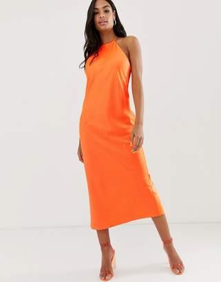 Asos Design DESIGN midi slip dress with high neck in neon