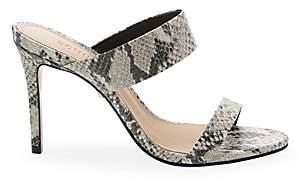 Schutz Women's Leia Snake-Embossed Double Strap Sandals