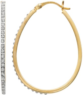 Mystique 18k Gold Over Silver Diamond Oval Hoop Earrings