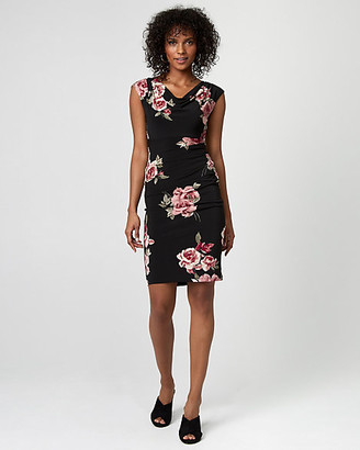 Le Château Floral Print Knit Cowl Neck Dress
