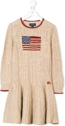 Ralph Lauren Kids US flag cable knit dress