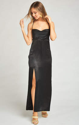MUMU Winslet Cowl Maxi Dress ~ Black Sheen