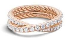 David Yurman Dy Crossover Wedding Band With Diamonds In 18K Rose