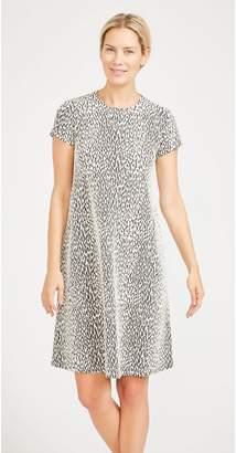J.Mclaughlin Cap Sleeve Swing Dress in Cheetah Jacquard