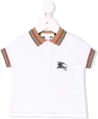 Burberry stripe trim polo shirt